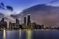 Downtown of Chicago Magnificent Mile Royalty Free Stock Images