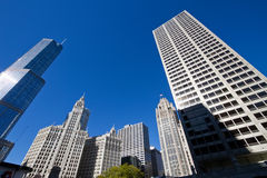 Downtown Chicago Modern and Old Buildings Cityscape Stock Photo