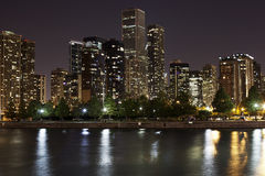 Downtown Chicago at Night Stock Photo