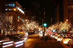 Downtown Chicago at night royalty free stock images