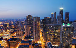Downtown Chicago at Night Stock Images