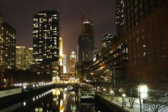 Downtown of Chicago at night. With lights and reflection in the river Stock Photography