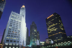 Downtown Chicago at night, The Loop with Chicago River, Chicago, Illinois Royalty Free Stock Images