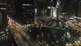 Downtown Chicago at night stock video footage