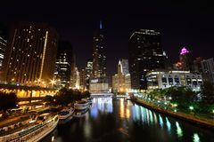 Downtown Chicago at night. Royalty Free Stock Images