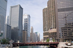 Downtown Chicago, river, streets and urban life Royalty Free Stock Image