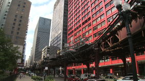Downtown Chicago (2 of 4). Chicago's elevated train system.  Similar to other cities subway system stock footage