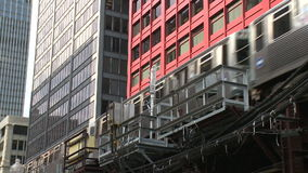 Downtown Chicago (3 of 4). Chicago's elevated train system.  Similar to other cities subway system stock video footage