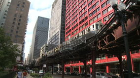 Downtown Chicago (1 of 4). Chicago's elevated train system.  Similar to other cities subway system stock video footage