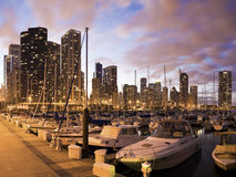 Free Downtown Chicago Seen From Marina Royalty Free Stock Photography - 19224237
