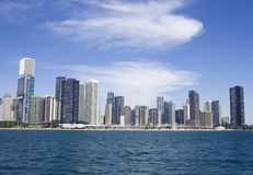 Downtown Chicago seen from the lake stock image