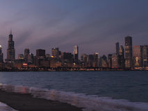 Downtown Chicago skyline at dusk Royalty Free Stock Photos