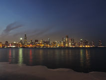 Downtown Chicago skyline at dusk Stock Photos