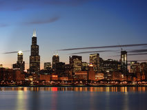 Downtown Chicago Skyline, Illinois. A closer view of the Skyline of Downtown Chicago at dusk Royalty Free Stock Photography