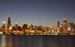 Downtown Chicago Skyline, Illinois. Skyline of Downtown Chicago across Lake Michigan at sunset Stock Photography