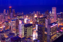 Downtown Chicago Skylines. Beautiful chicago skylines at night stock photo