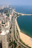 Downtown Chicago in summer day. View of Lake Shore Drive in Chicago Royalty Free Stock Images