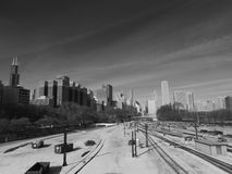 Downtown Chicago Train Tracks Black and White Royalty Free Stock Image