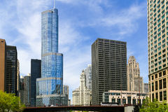 Downtown Chicago. Chicago, USA - May 24, 2014: Several Buildings in Downtown with Trump Tower at Columbus Drive and Chicago River Royalty Free Stock Image