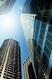 Office buildings. Downtown Chicago, view looking up at skyscrapers Royalty Free Stock Photos