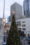 Downtown Christmas tree stock photo