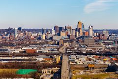 Cincinnati - Circa February 2019: Downtown Cincinnati Skyline. Cincinnati is known for the Reds and Bengals III. Downtown Cincinnati Skyline. Cincinnati is known royalty free stock photography