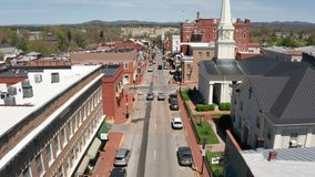 Historic Buildings Aerial Perspective Lexington Virginia USA. The downtown city center urban area of historic Lexington VA United States stock video