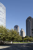 Downtown of city Dallas and Klyde Warren Park view. Klyde Warren Park and modern buildings in city Dallas, TX USA Royalty Free Stock Photo