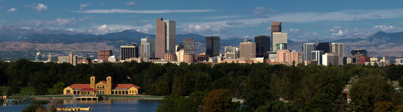 Downtown City of Denver, Colorado. Panorama cityscape view of downtown Denver, Colorado, USA.  A mix of old and modern architecture viewed from Washington Park Royalty Free Stock Photos