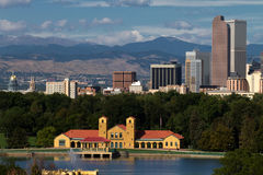 Downtown City of Denver, Colorado. Panorama cityscape view of downtown Denver, Colorado, USA.  A mix of old and modern architecture viewed from Washington Park Royalty Free Stock Image