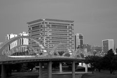 Downtown of city Fort worth TX. Black and white picture about west 7th street bridge in downtown Fort Worth, TX USA royalty free stock photos