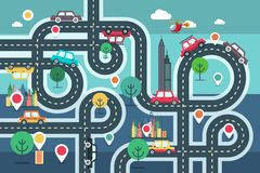 Downtown City Map with Pins and Cars on Road. Vetor Flat Design Illustration vector illustration