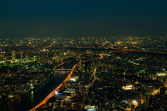 Downtown city night from top view.  Royalty Free Stock Photography