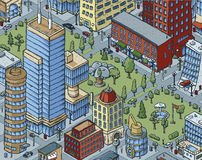 Downtown City Scene. Scene of a cartoon park in the middle of a big city Royalty Free Stock Image