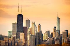 Downtown city skyline of Chicago at dawn Royalty Free Stock Photo