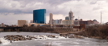 Downtown City Skyline Indianapolis Indianna White River. Downtown City Skyline Indianapolis Indiana White River stock photography