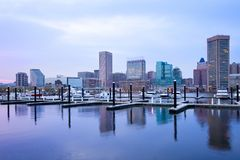 Downtown city skyline and Inner Harbor at Baltimore. Downtown city skyline and Inner Harbor, Baltimore, Maryland, USA Stock Image