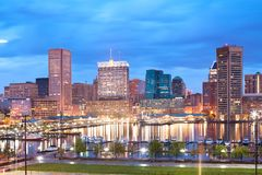 Downtown city skyline and Inner Harbor in Baltimore. Downtown city skyline and Inner Harbor, Baltimore, Maryland, USA Royalty Free Stock Photo