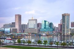 Downtown city skyline and Inner Harbor in Baltimore. Downtown city skyline and Inner Harbor, Baltimore, Maryland, USA Stock Photography