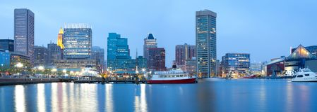 Downtown city skyline and Inner Harbor in Baltimore. Downtown city skyline and Inner Harbor, Baltimore, Maryland, USA Royalty Free Stock Photography