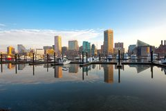 Downtown city skyline, Inner Harbor and marina in Baltimore Stock Photo