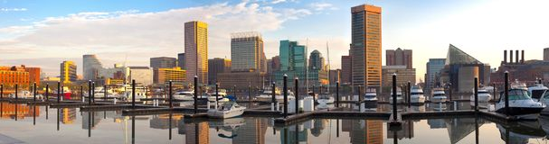 Downtown city skyline, Inner Harbor and marina in Baltimore. Downtown city skyline, Inner Harbor and marina, Baltimore, Maryland, USA Stock Photos