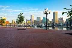 Downtown city skyline, Inner Harbor and marina in Baltimore Stock Photos