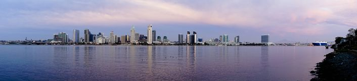San Diego Wide Panoramic View Coronado Island Pacific Ocean bay. The downtown city skyline of San Diego California with reflection of buildings of the bay royalty free stock photos