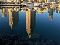 Downtown city skyline with water reflections, San Diego, California, USA Stock Image