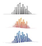 Downtown city skylines in different perspectives royalty free illustration