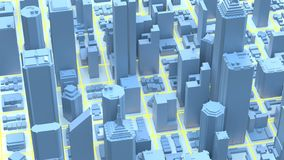 Downtown city skyscrapers. City with glow lines road and digital elements. 3D Rendering.  royalty free illustration
