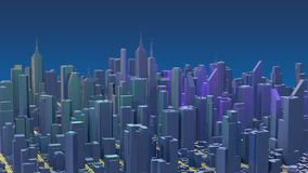 Downtown city skyscrapers. City with glow lines road and digital elements. 3D Rendering.  stock illustration