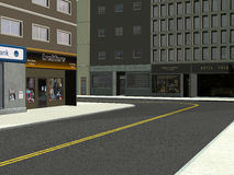 Downtown City Street Corner Illustration. Illustration of a city downtown street corner. Shops and stores and tall buildings make up the scene royalty free illustration