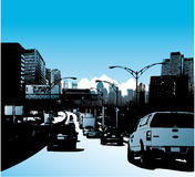 Downtown city and traffic on highway. Vector illustration Stock Photo